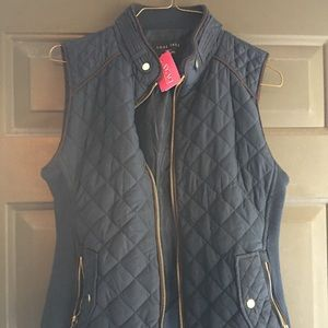 Navy Blue Quilted Vest